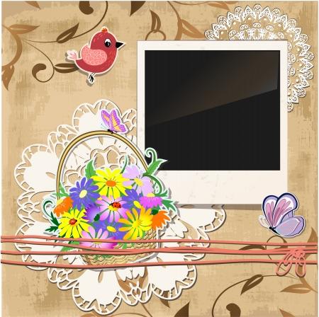 paper basket: Scrapbook template  Illustration