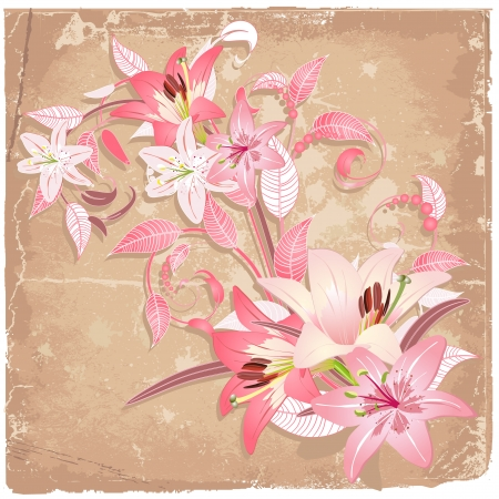 Vintage background with lilies Vector