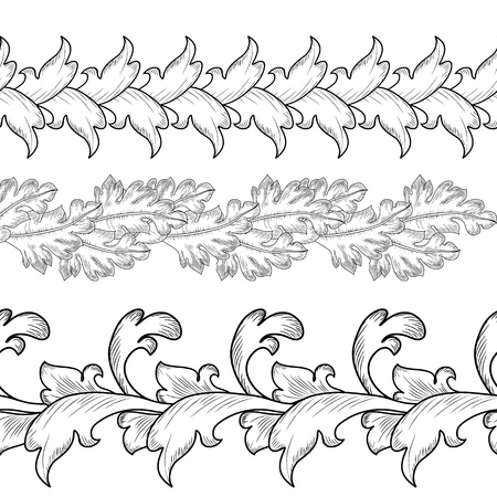 Set borders baroque Vector