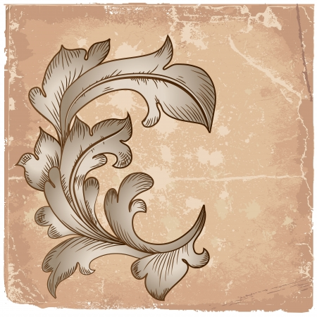 Baroque design grunge Vector