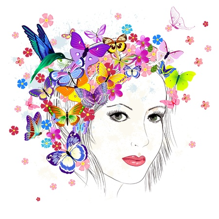 girl drawing butterfly Stock Vector - 17009794