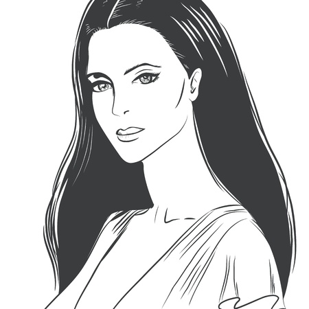 Portrait of a beautiful young woman Vector