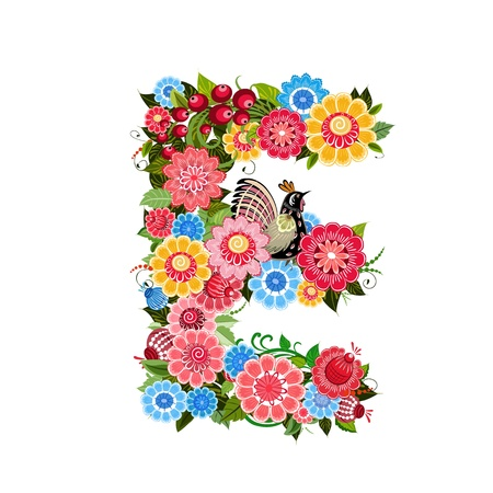 cheery: Floral letter to the birds in the style Khokhloma