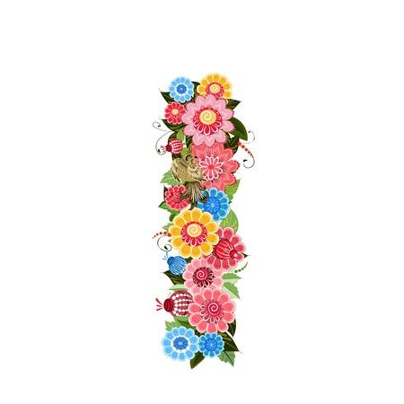 blumen cartoon: Floral Brief an die V�gel im Stil Khokhloma Illustration