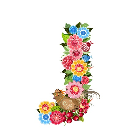 Floral letter to the birds in the style Khokhloma Stock Vector - 17009664
