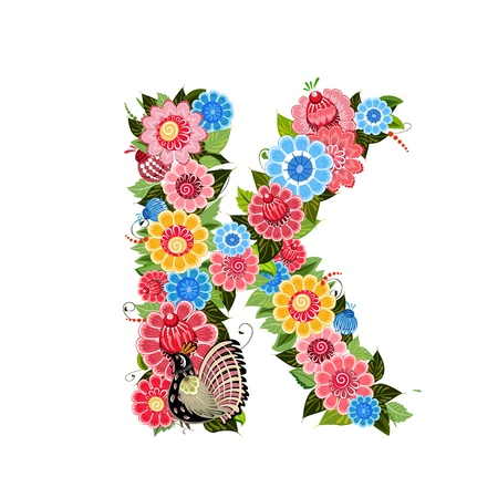 Floral letter to the birds in the style Khokhloma Vector