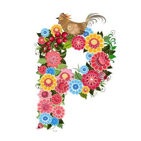 Floral letter to the birds in the style Khokhloma Stock Vector - 17009712