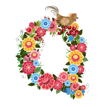 Floral letter to the birds in the style Khokhloma Stock Vector - 17009732
