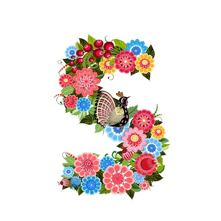 s alphabet: Floral letter to the birds in the style Khokhloma