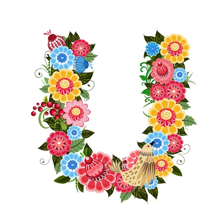 Floral letter to the birds in the style Khokhloma Stock Vector - 17009692
