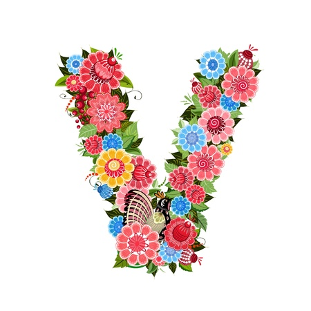 v alphabet: Floral letter to the birds in the style Khokhloma