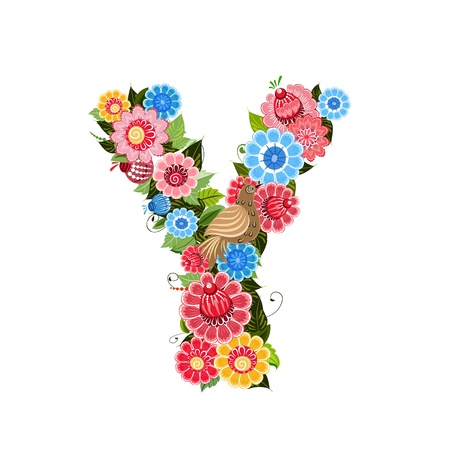 Floral letter to the birds in the style Khokhloma Stock Vector - 17009661