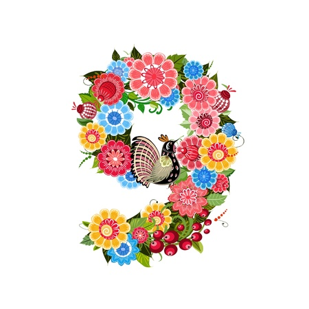Flower number with birds in Khokhloma style Vector
