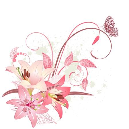 식물상: 핑크 백합의 꽃다발