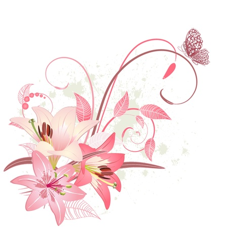 Bouquet of pink lilies Vector