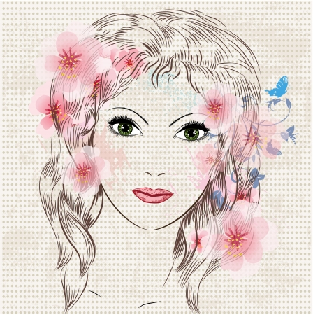 Face of a beautiful fashion girl in flowers Vector