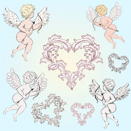 cherub: Vintage Angels with arrows for your design