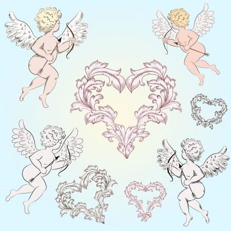 valentine cherub: Vintage Angels with arrows for your design