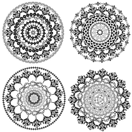 Set of vintage round arabesques Vector