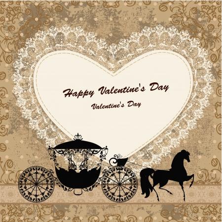 invitacion boda vintage: Tarjeta de San Valent�n con un caballo y un carro
