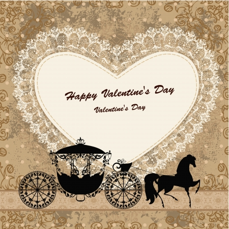 royal invitation: Valentines card with a horse and carriage Illustration