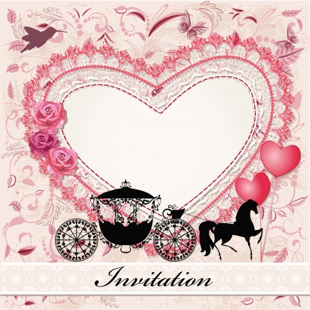 horse carriage: Valentines card with a horse and carriage Illustration