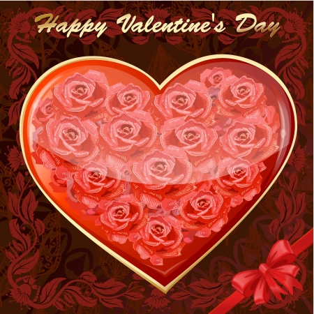 Valentine's card with a heart of roses Stock Vector - 17336126
