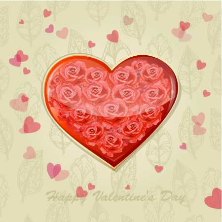Valentine's card with a heart of roses Stock Vector - 17336122