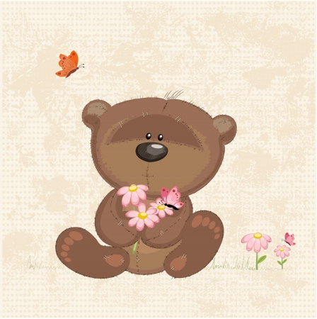 soft toy: Cute bear with flowers Illustration