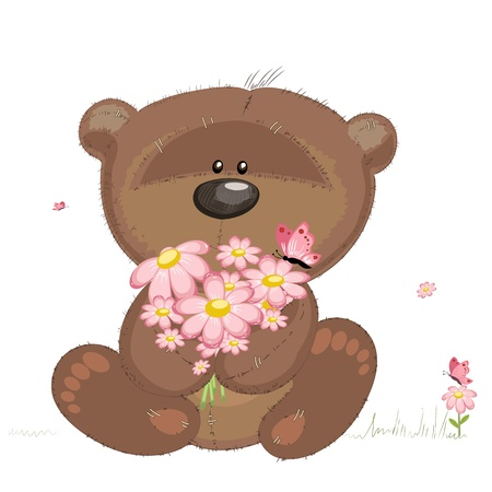 cuddly: Cute bear with flowers Illustration
