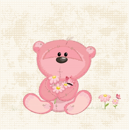 flowers fluffy: Cute bear with flowers Illustration