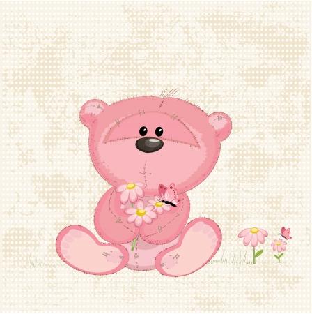 Cute bear with flowers Stock Vector - 17336081