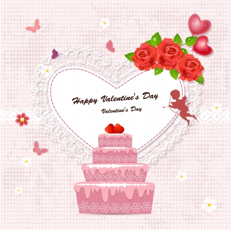 birthday angel: Cake with valentine and cupid for your design Illustration