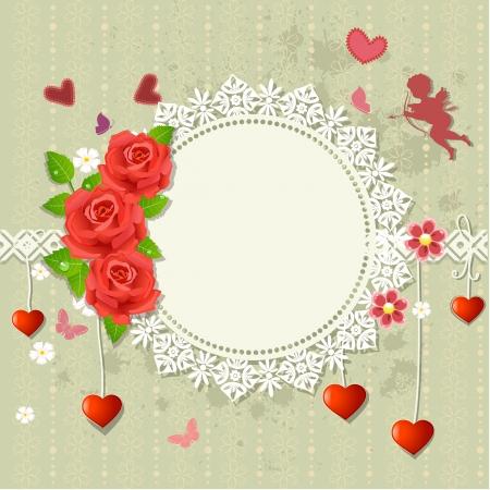angel roses: Designer frame heart