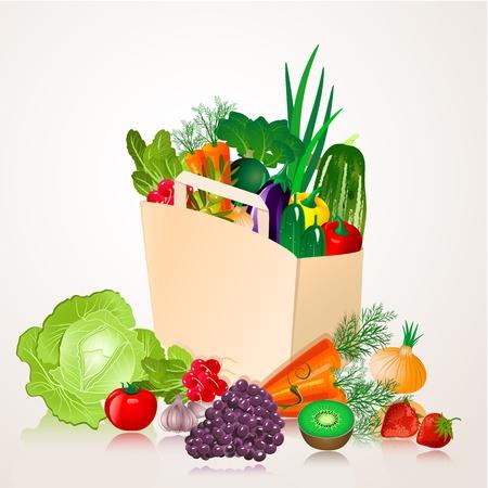 healthy food: bag of vegetables