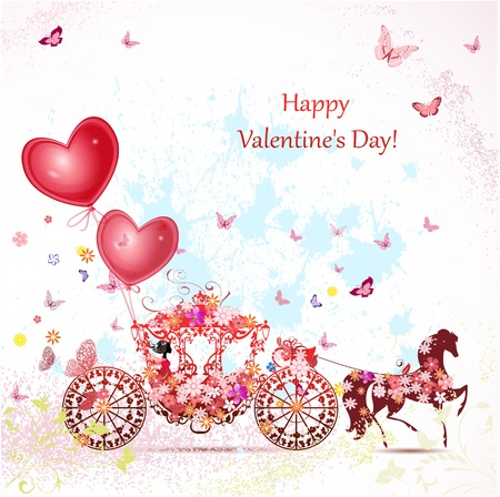marriage cartoon: girl in a carriage with valentines Illustration