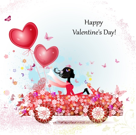 girl in a car with valentines Stock Vector - 17336132