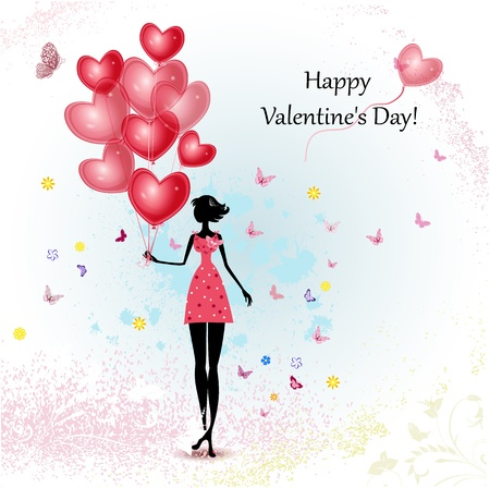 Card design girl with Valentine's Day Stock Vector - 17336149