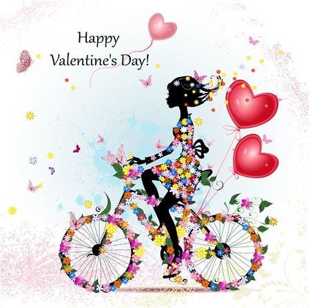 Woman on bicycle with valentines Vector