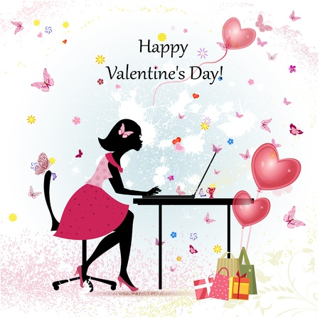 Card design girl with Valentine's Day Stock Vector - 17336125