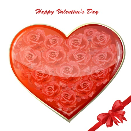 Valentine's card with a heart of roses Stock Vector - 17336180