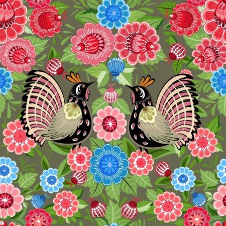 Flower texture with birds seamless Stock Vector - 17550918
