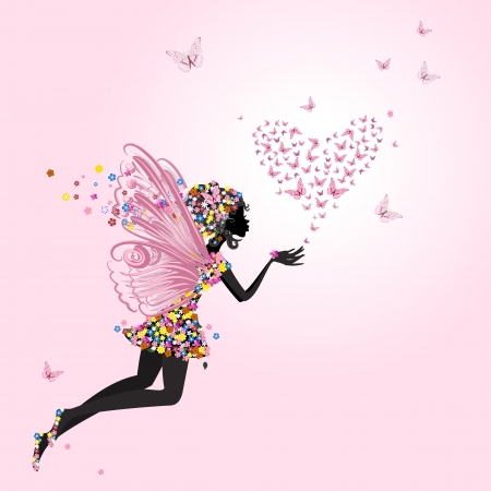 cartoon fairy: Fairy with a valentine of butterflies