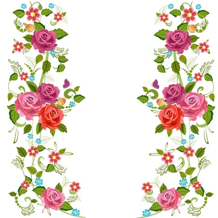 butterfly border: Foliate border with roses blossom