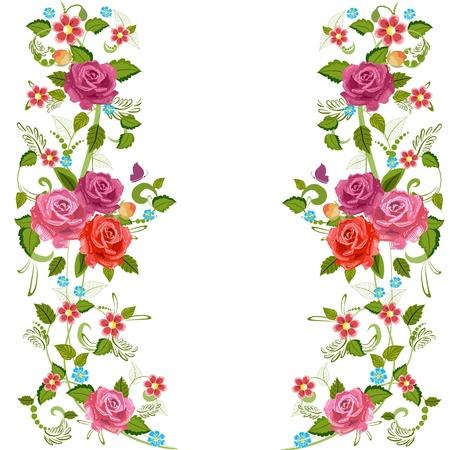 frontera de flores: Folio frontera con rosas de flor