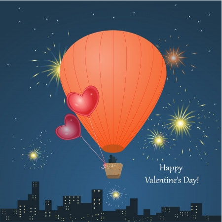 Valentines Day with a balloon for your design Vector