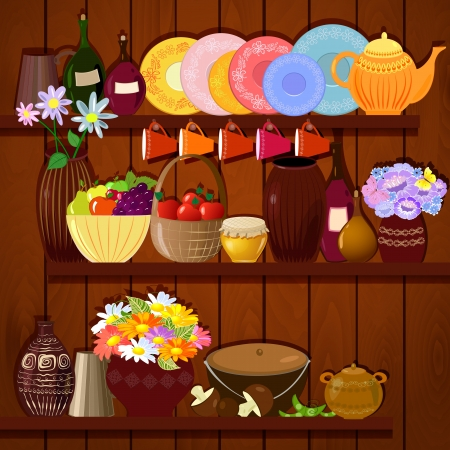 Shelves with dishes and food Vector