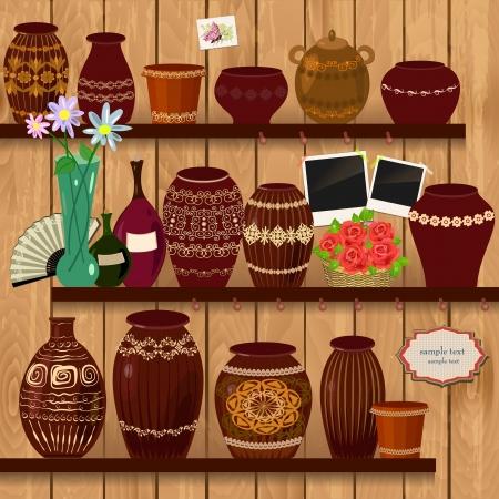 瀬戸物: 木製の棚の植木鉢  イラスト・ベクター素材