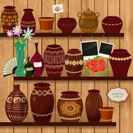 earthenware: Flower pots on wooden shelves Illustration