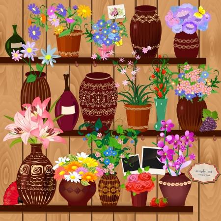 Flower pots on wooden shelves Stock Vector - 17680117